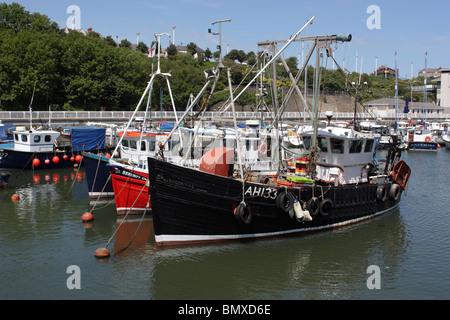 Traditional wooden fishing boats moored in Roker Marina, Sunderland, England, UK - Stock Photo