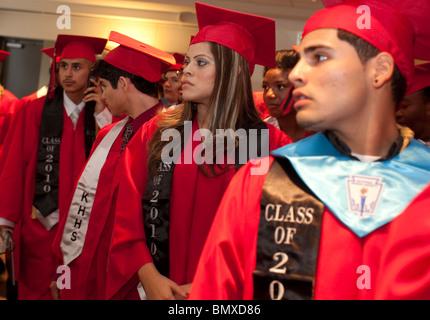 High school graduation ceremony at KIPP Academy, a nationally-recognized alternative education program in Houston, - Stock Photo