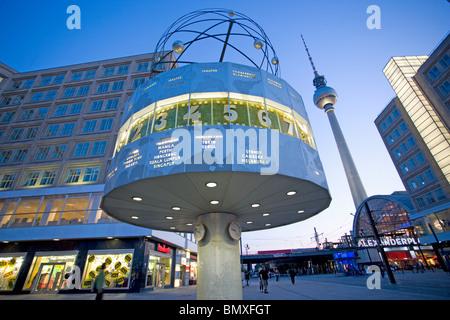 World clock in alexanderplatz berlin - Stock Photo