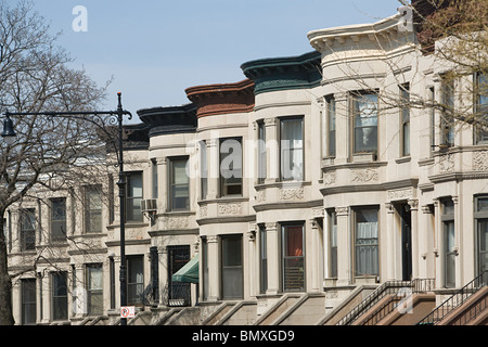 Houses in park slope in brooklyn - Stock Photo
