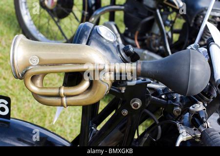 Retro Bike Horn On A Classic Bike - Stock Photo