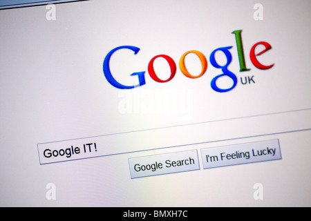 The Google search engine home page on the Internet; showing a search for the popular term 'Google It!'. - Stock Photo
