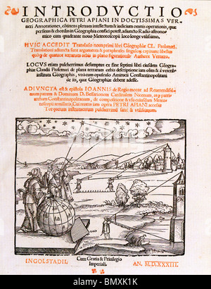 PETER APIAN (1495-1552) German cartographer .Title page of  Introductio Geographica of 1533  - see Description below - Stock Photo