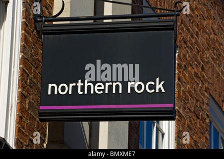 Northern Rock bank sign York North Yorkshire England UK United Kingdom GB Great Britain - Stock Photo