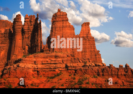 Fisher Towers in the Colorado River Waterway near Castle Valley and Moab in southern Utah - Stock Photo