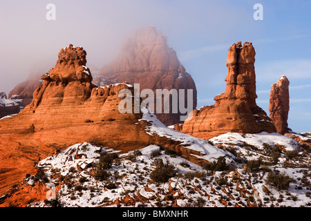 Winter in Arches National Park in the desert southwest of Utah USA - Stock Photo
