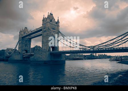 A moody image of Tower Bridge, London, UK