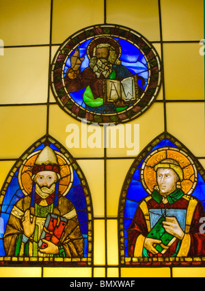 Stained glass in the collection of the museum of Basilica di Santa Croce in Florence, Italy - Stock Photo