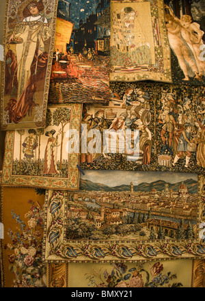 Tapestry with the views of Florence and traditional themes in the Mercato Nuovo, 16th century market, in Florence, - Stock Photo