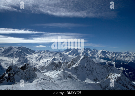 View from Mont Fort over ski area of Four Valleys, Verbier, Switzerland - Stock Photo