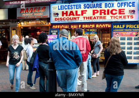 Box Office selling half price theatre tickets, Leicester Square, London, UK - Stock Photo