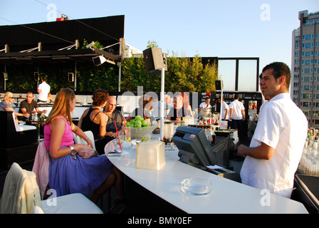 ISTANBUL, TURKEY. The bar at the fashionable rooftop restaurant of Nu Teras in the Pera district of Beyoglu. 2009. - Stock Photo