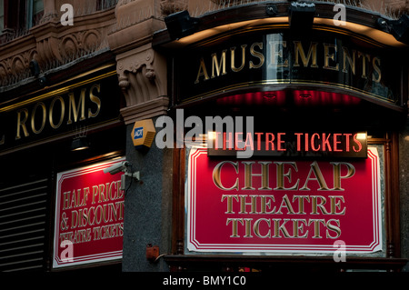 Box Office selling cheap theatre tickets, Leicester Square, London, UK - Stock Photo