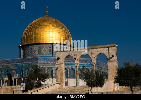The gilded Islamic shrine Dome of the Rock Mosque also called Haram al Sharif in the Temple Mount Old City East - Stock Photo