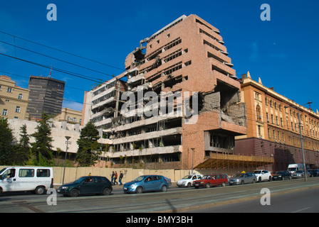 Government buildings bombed by NATO in 1999 and left intact central Belgrade Serbia Europe - Stock Photo