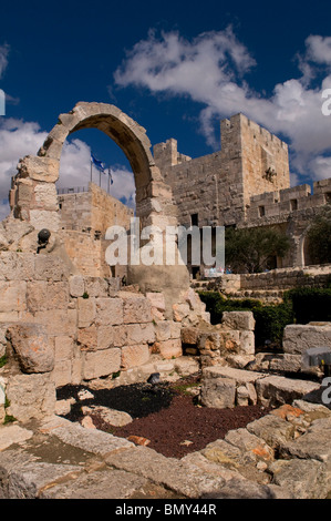 Interior courtyard of the fortified Tower of David, also known as the Jerusalem Citadel at the old city of East - Stock Photo