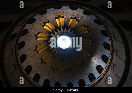 Dome of the Rotunda of the Church of the Holy Sepulchre in the Christian Quarter Old city East Jerusalem Israel - Stock Photo