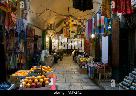 Souq scene in the Muslim Quarter Old city of East Jerusalem Israel - Stock Photo