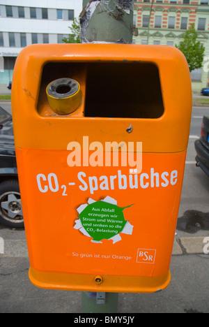 Public outdoor bin and ashtray Friedrichshain east Berlin Germany Europe - Stock Photo