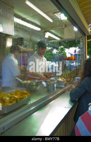 Stall selling reputedly best kebabs in the district of Kreuzberg west Berlin Germany Europe - Stock Photo