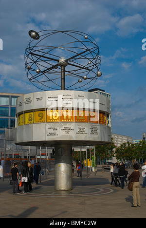 World Time Clock meeting point Alexanderplatz Mitte central Berlin Germany Europe - Stock Photo