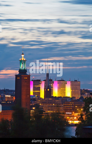 sweden stockholm - town hall and city highrises during long summer night - Stock Photo