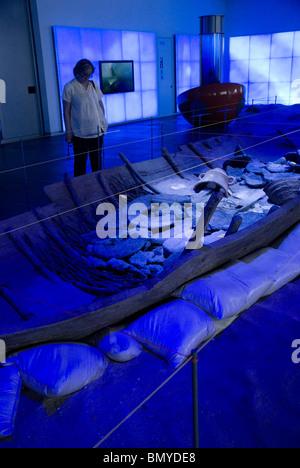 Replica of Phoenician boat named Mazarron 2 . National Museum of Underwater Archaeology. ARQUA in CARTAGENA CITY - Stock Photo