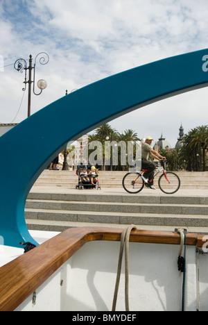 Maritime Avenue seen from Tourist boat CARTAGENA CITY Murcia region SPAIN - Stock Photo
