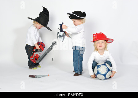2-3 years 3-4 years active activity age aircraft ball blond blue boy caucasian child children clothes dutch emotion - Stock Photo