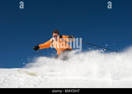 Zillertal, skier in action - Stock Photo