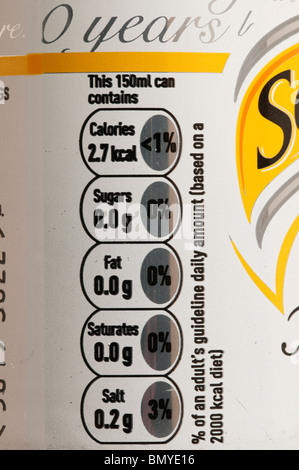 Nutritional information on the side of a can of Slimline Tonic Water - Stock Photo