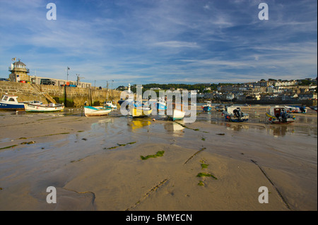 Fishing boats moored in the harbor (harbour) in St.Ives, Cornwall - Stock Photo