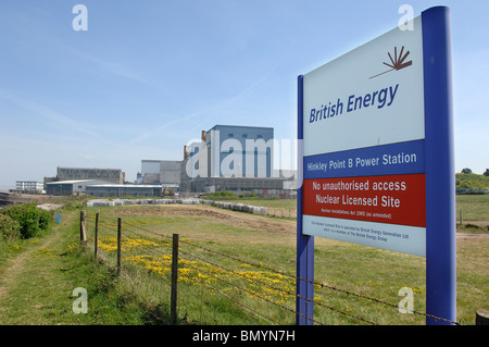 Site of Proposed Hinkley C Nuclear Power station with Existing Nuclear Stations behind - Stock Photo