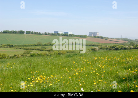 Site of the Proposed Nuclear Power Station at Hinkley Point in Somerset with the existing Power stations in the - Stock Photo