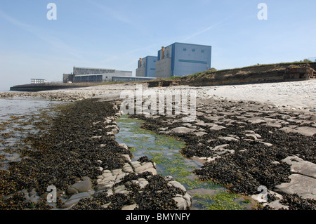 Beach where Proposed Hinkley C Nuclear Power station would be built with Existing Nuclear Stations behind - Stock Photo