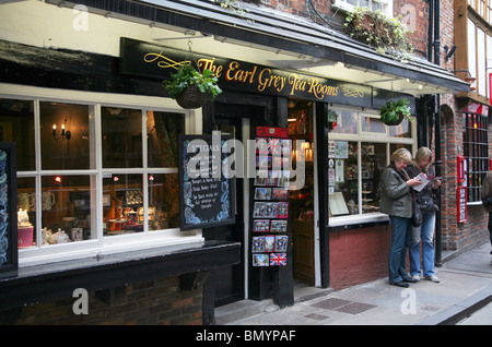 Tearooms in The Shambles, the ancient narrow street which used to be the area occupied by the butchers of the city - Stock Photo