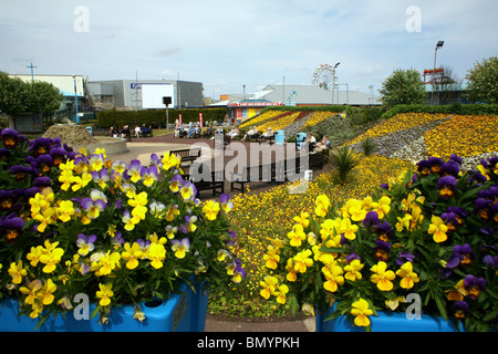The Jolly Fisherman statue (1908)  centre piece in the Compass Gardens on Skegness seafront - Stock Photo