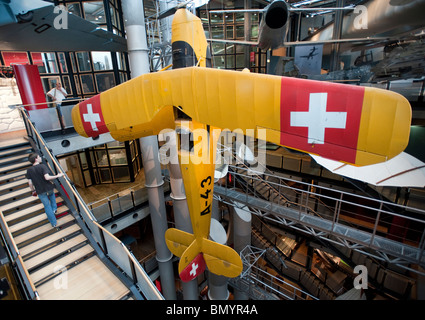Historic aircraft on display at Deutsches Technikmuseum or German Technology Museum in Berlin Germany - Stock Photo