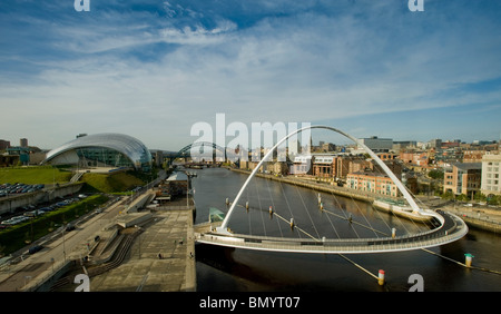 View of Quayside, River Tyne, Gateshead, from Baltic Centre. - Stock Photo