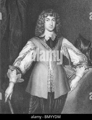 Prince Rupert of the Rhine (1619-1682) on engraving from the 1800s. - Stock Photo