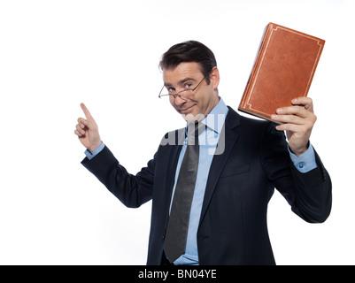 man caucasian teacher professor lecturing isolated studio on white background - Stock Photo