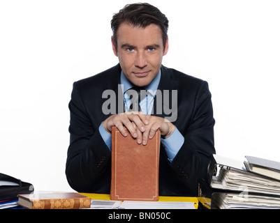 man caucasian teacher professor holding book teaching isolated studio on white background - Stock Photo
