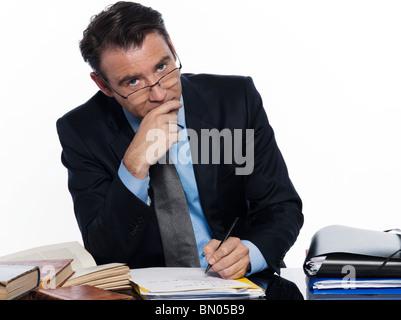 man caucasian teacher professor lecturing serious ponder isolated studio on white background - Stock Photo