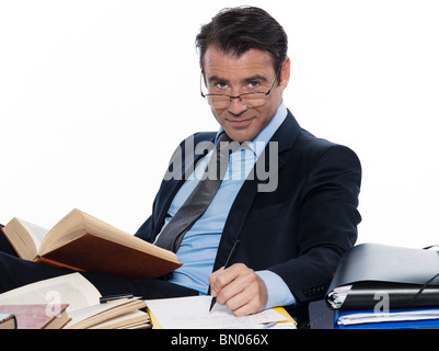 man caucasian teacher professor lecturing cheerful isolated studio on white background - Stock Photo