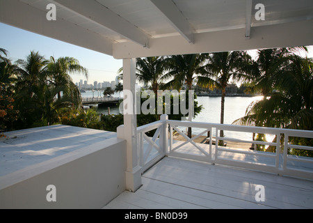 View From House over Terrace on The Skyline of Miami - Stock Photo