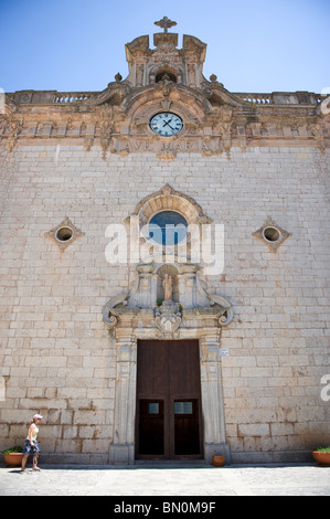 Main entrance to the church of the Santuario de Lluc Monastery in the Serra Tramuntana Mountains on Mallorca, Spain - Stock Photo