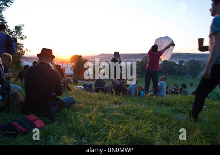 Sunset, Glastonbury 2010 - Stock Photo