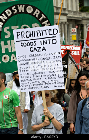 A poster seen during  a  demonstration against the Israeli blockade of Gaza in 2010 - Stock Photo