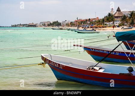 Fishing Boats Anchored on a Beach, Playa Del Carmen, Mexico - Stock Photo