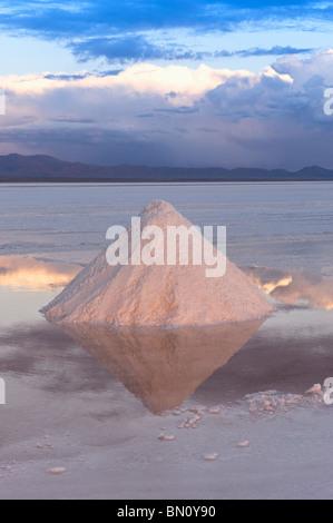 Salt cones, Salar de Uyuni at sunset, Potosi, Bolivia Salzpyramiden, Salar de Uyuni bei Sonnenuntergang, Potosi, - Stock Photo